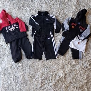 3 outfits. Adidas tracksuit 9m. 2 6-9m sweat suits